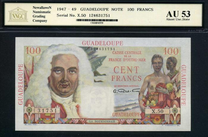 Vacío documental Guadeloupe+100+Franc