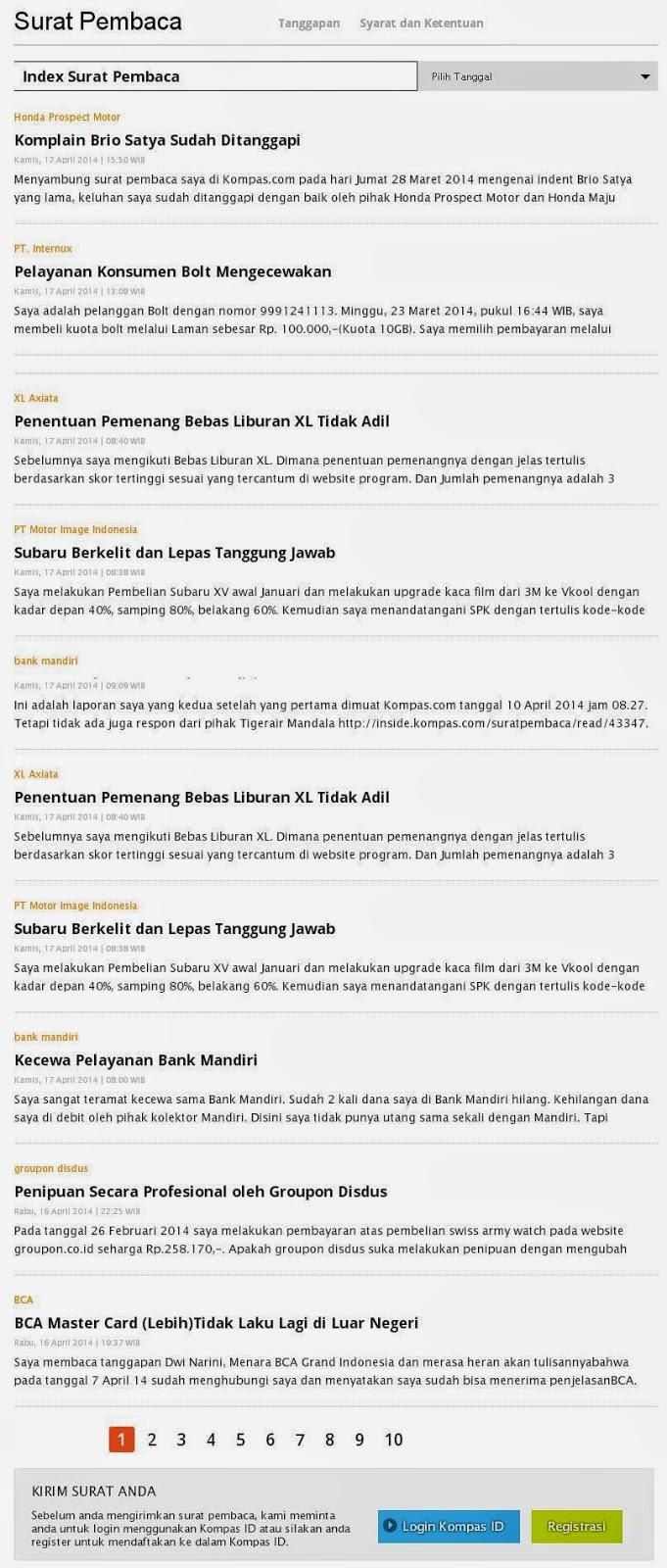 Surat Pembaca Kompas Online