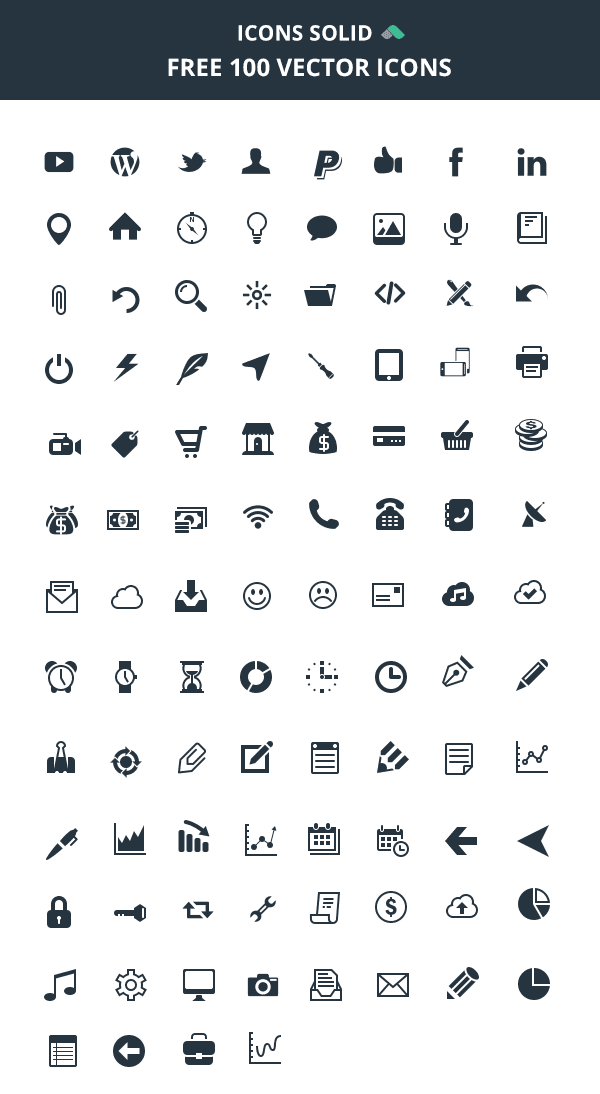Icons Solid: 100 Vector Icons