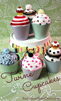 DIY Twine Cupcakes at sewlicioushomedecor.com