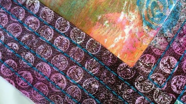 gelli plate printed fabric