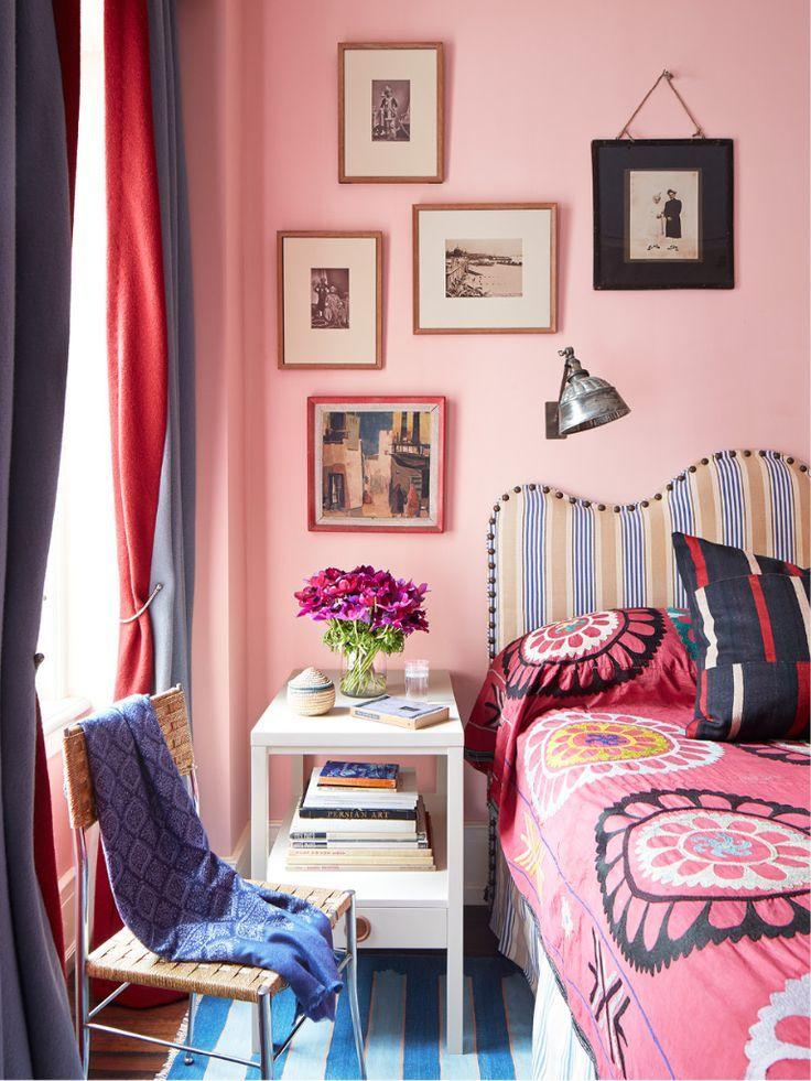 bedroom with pink walls lamb amp blonde i believe in pink 14476 | perfect%2Bpink%2Bwalls%2Bbedroom%2Bfab%2Bpattern%2Bmix%2Bart%2Bcollage%2BPeter%2BDunham%2Bdesign%2Bvia%2Bdecordesignreview.tumblr.com