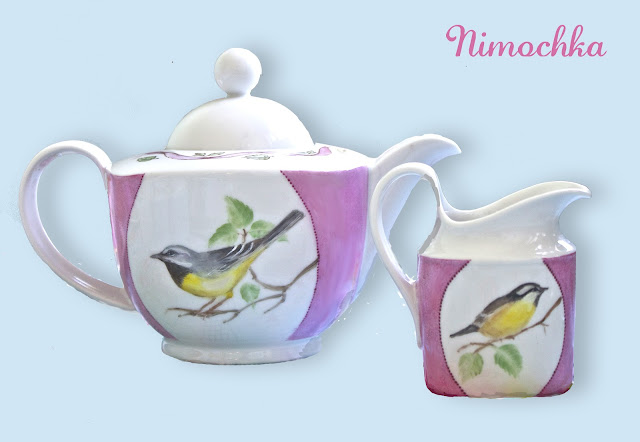 tea pot, creamer, china, porcelain, hand painted, bird
