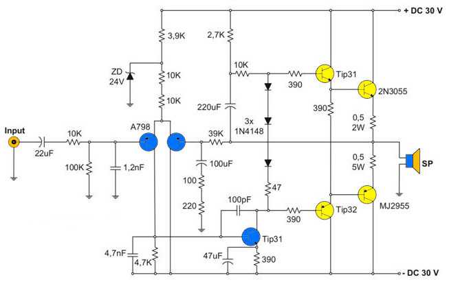 400w amplifier with 2n3055  mj2955