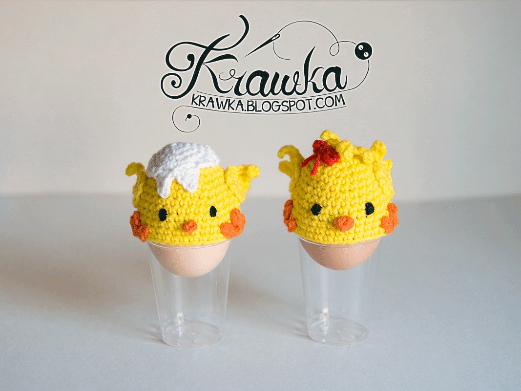ocieplacze na jajka wielkanocne ozdoby na szydełku,urocze żólte kurczaczki ,  szydełko amigumumi, egg warmers yellow chickens chic with bow easter gifts decoration crochet