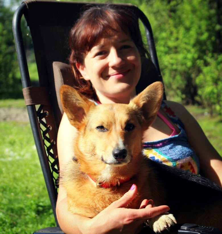 My furry Corgi daughter and me.
