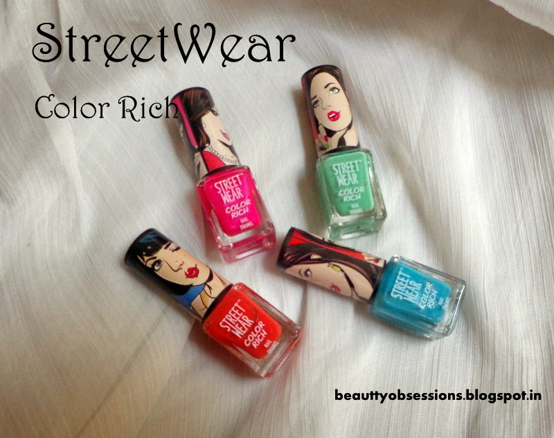 Review ~ Four StreetWear Color Rich Nail Paints ( Dragonfly Green, Risque Red, Sapphire Sensation, Love Blossom )