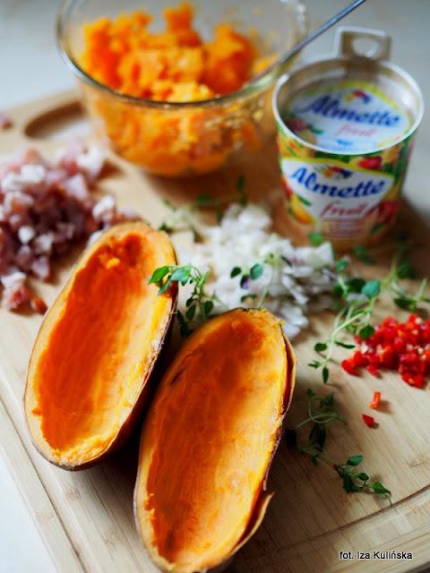 słodkie ziemniaki , z piekarnika , nadzienie , serek owocowy , przekąska