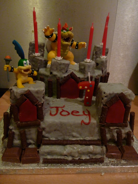 7th birthday cake, mario cake, bowser cake