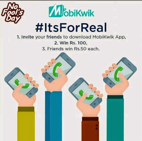 Mobikwik 'Its For Real' Offer - Rs 50 Cash Back on Rs 10 + Refer and Earn more