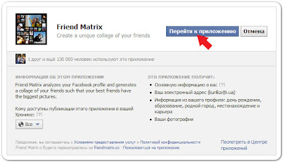 страница открытия доступа к приложению Friend matrix в социальной сети Facebook