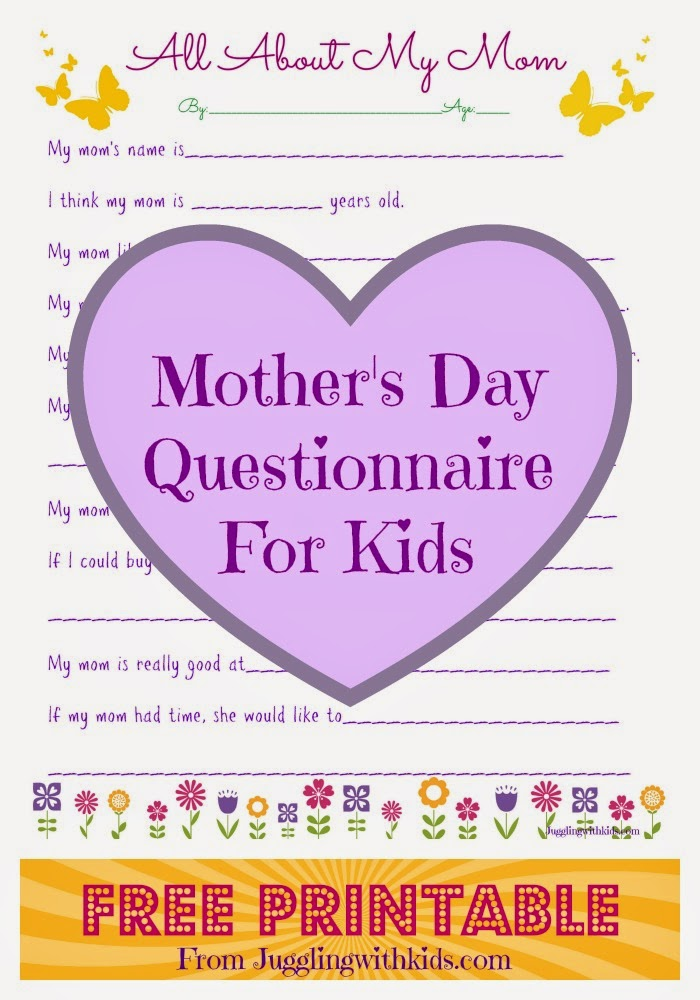picture relating to Mother's Day Questionnaire Printable named Moms Working day Questionnaire for Small children Juggling With Children