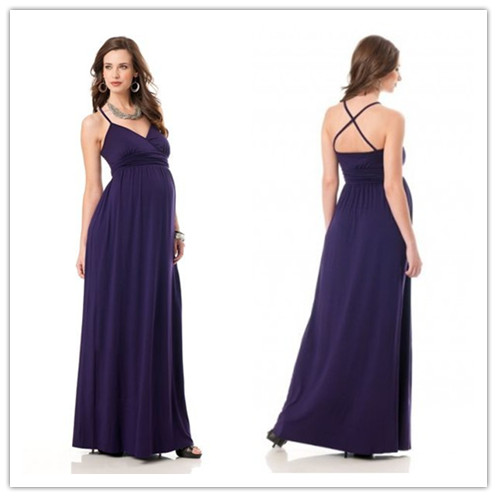 purple chiffon-spaghetti-straps-v-neck-empire-a-line-long-maternity-bridesmaid-dress