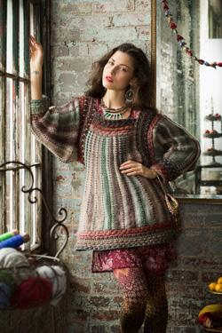 folkloreystyczna sukienka na drutach