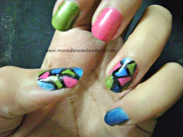 tri color mosaic nail art - moonshine