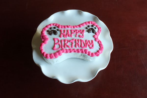 Bone-shaped dog birthday cake