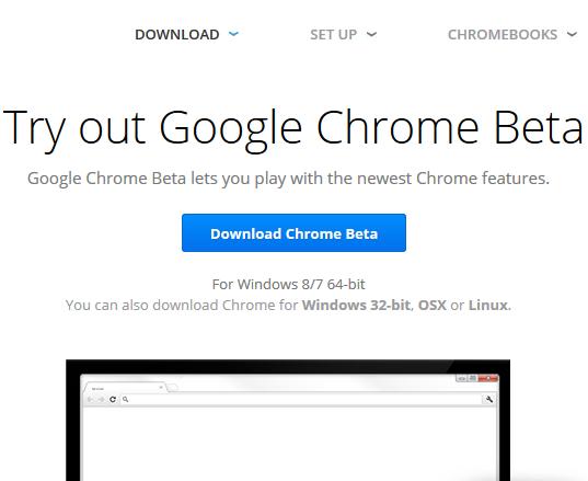Страница загрузки бета-версии Google Chrome