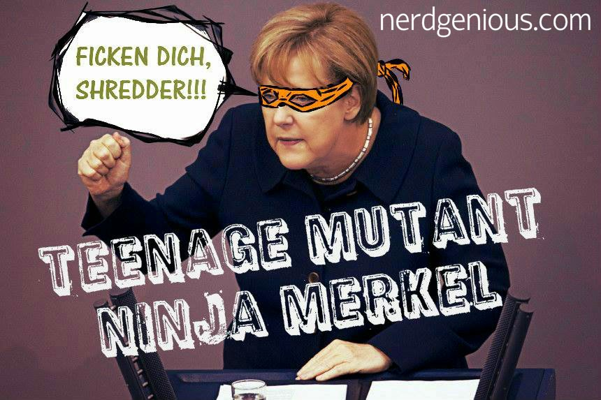 German Chancellor Angela Merkel as Teenage Mutant Ninja Turtle Michaelangelo