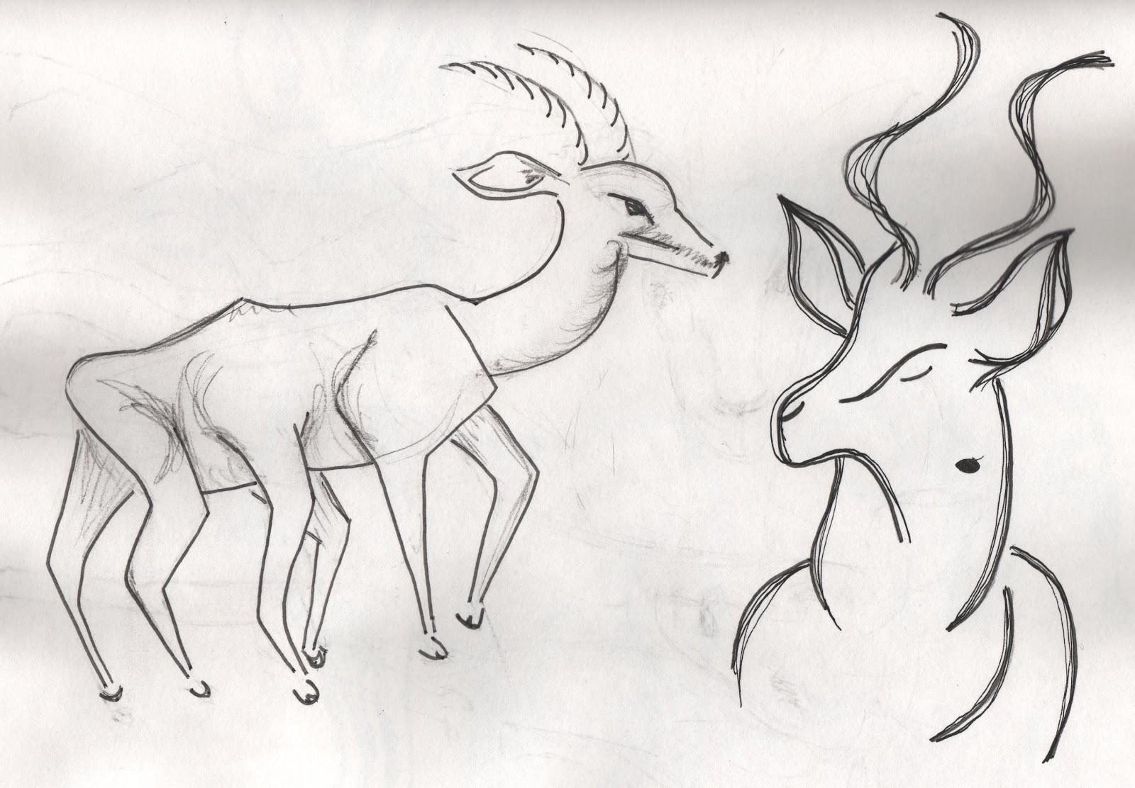Antelope Line Drawing Antelope Line Drawings