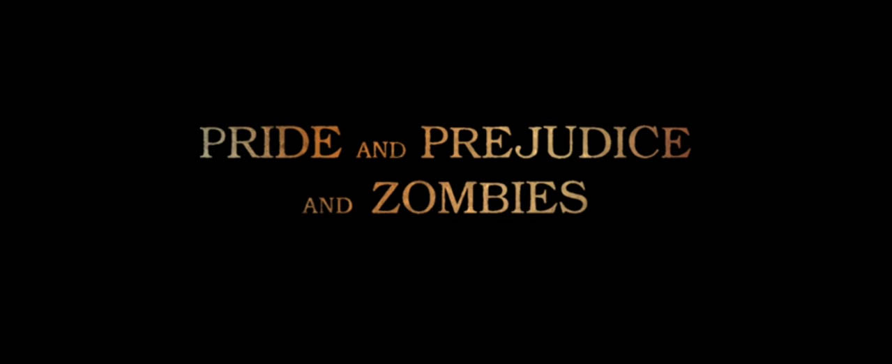 Pride and Prejudice and Zombies 2016 movie title card directed by  Burr Steers based from 2009 Pride and Prejudice parody novel by Seth Grahame-Smith starring Lily James, Sam Riley, Jack Huston, Bella Heathcote