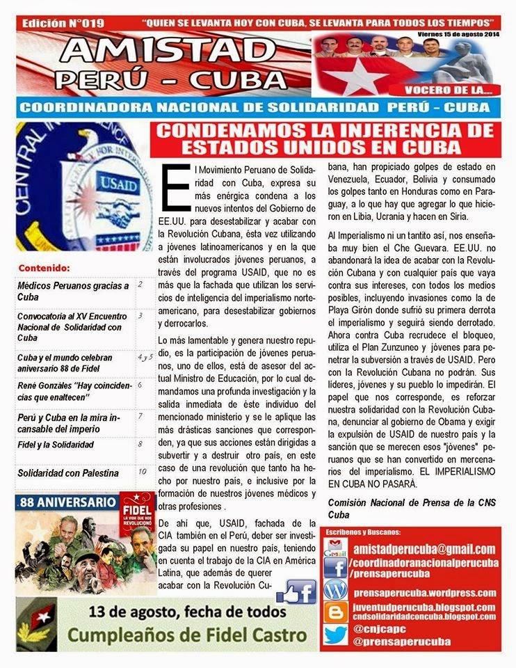 """BOLETÍN Nª019 """"AMISTAD PERÚ CUBA"""""""