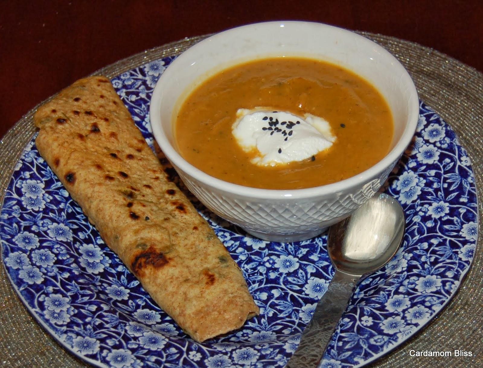 Spicy, creamy butternut soup