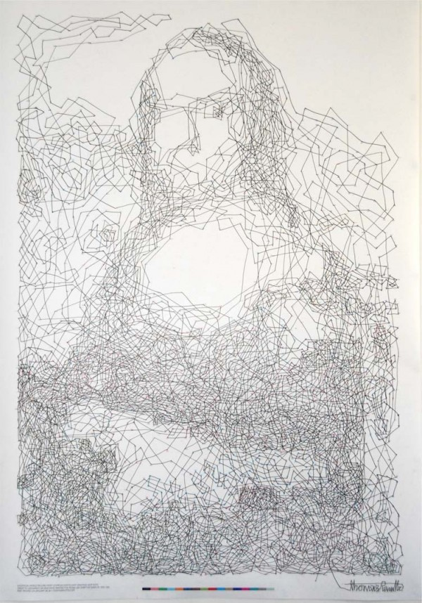 Contour Line Drawing Of Mona Lisa : World record connect the dots mona lisa in