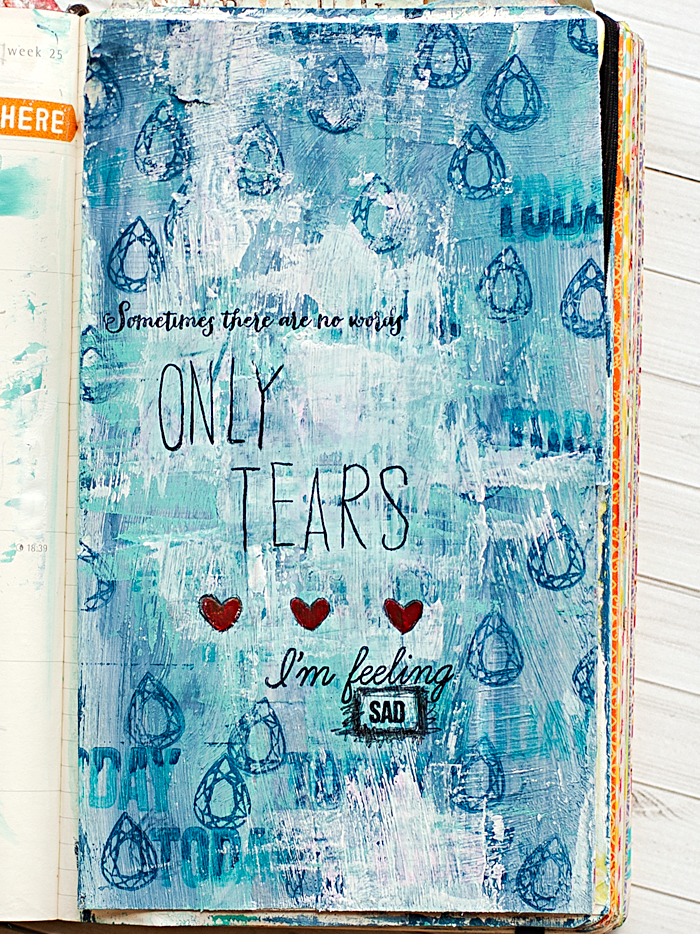 Heather Greenwood | Sometimes There Are No Words, Only Tears Art Journal #mixedmedia
