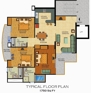 Emerald Court :: Floor Plans,Aster / Bluestone 1:-Typical Floor Plan3 Bedrooms, 3 Toilets, Kitchen, Dining, Drawing, 2 Balconies Area - 1750 Sq. Ft.