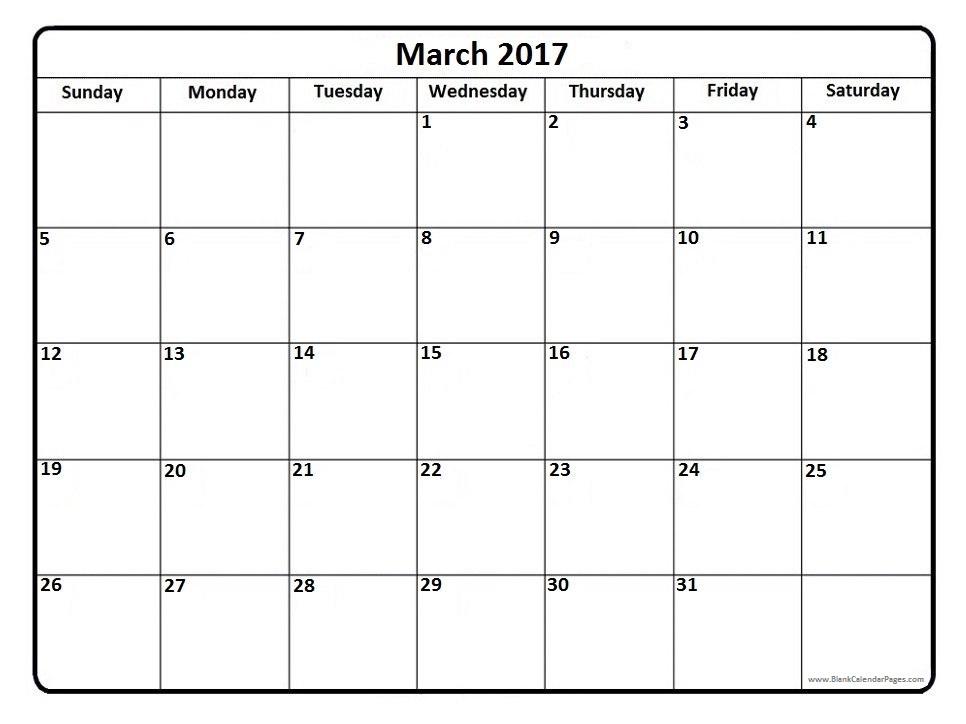 Printable Calendar 2016: [Free]* March 2017 Printable Calendar ...