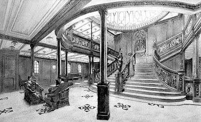 Titanic staircase from White Star booklet