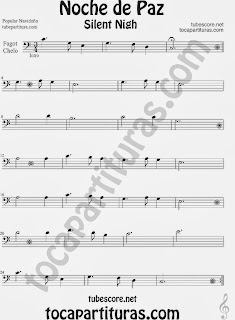Partitura de NOCHE DE PAZ para Violonchelo y Fagot Villancico Christmas Song SILENT NIGH Sheet Music for Cello and Bassoon Music Scores