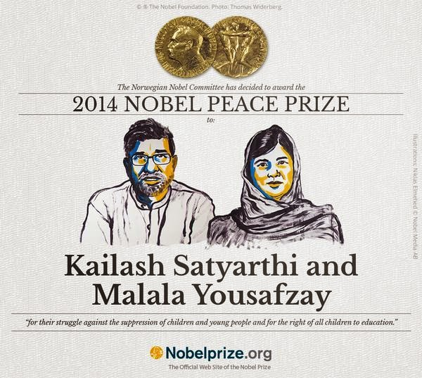 Nobel Peace Prize 2014 winners - Kailash Satyarthi and Malala Yousafzai