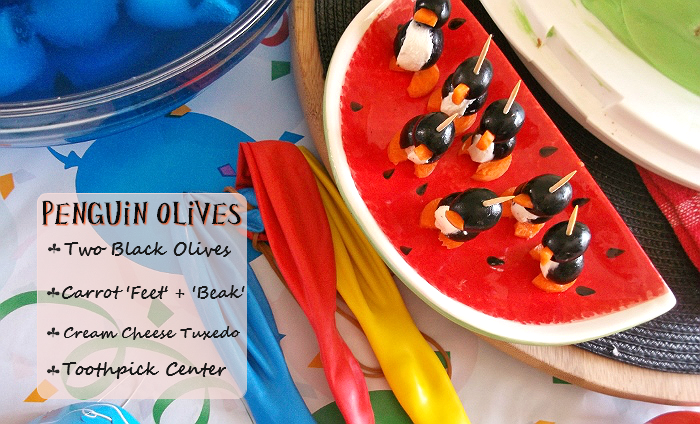 Penguin Olives made with carrots, cream cheese, and olives!