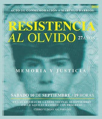 VALPARAISO: ACTO DE CONMEMORACIÓN A MARCELO BARRIOS  27 AÑOS RESISTENCIA LA OLVIDO