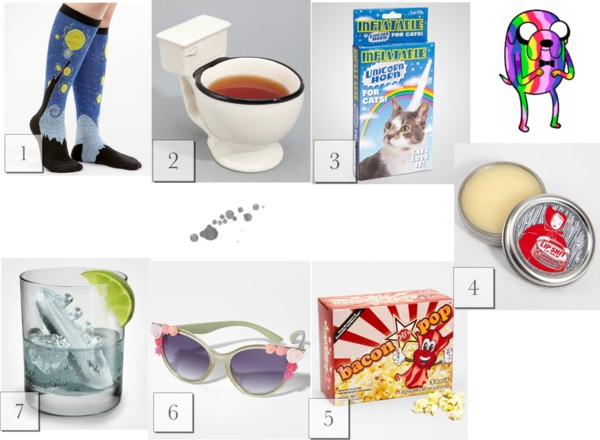 Fred Flare wishlist list, gift picks, Red Riding hood lipbalm, Starry night socks, toilet mug, bacon pop corn, Titanic ice cubes, Titonic and Gin, floral sunglasses, unicorn horn for cats, A Coin For the Well