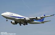 ANA Boeing 747400 (JA8097) landing at London Heathrow Airport. (ana boeing ja landing at london heathrow airport)