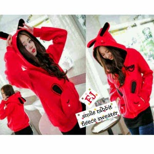 Jaket dan Sweater Wanita Bahan Fleece FJ Smile Rabbit Sweater