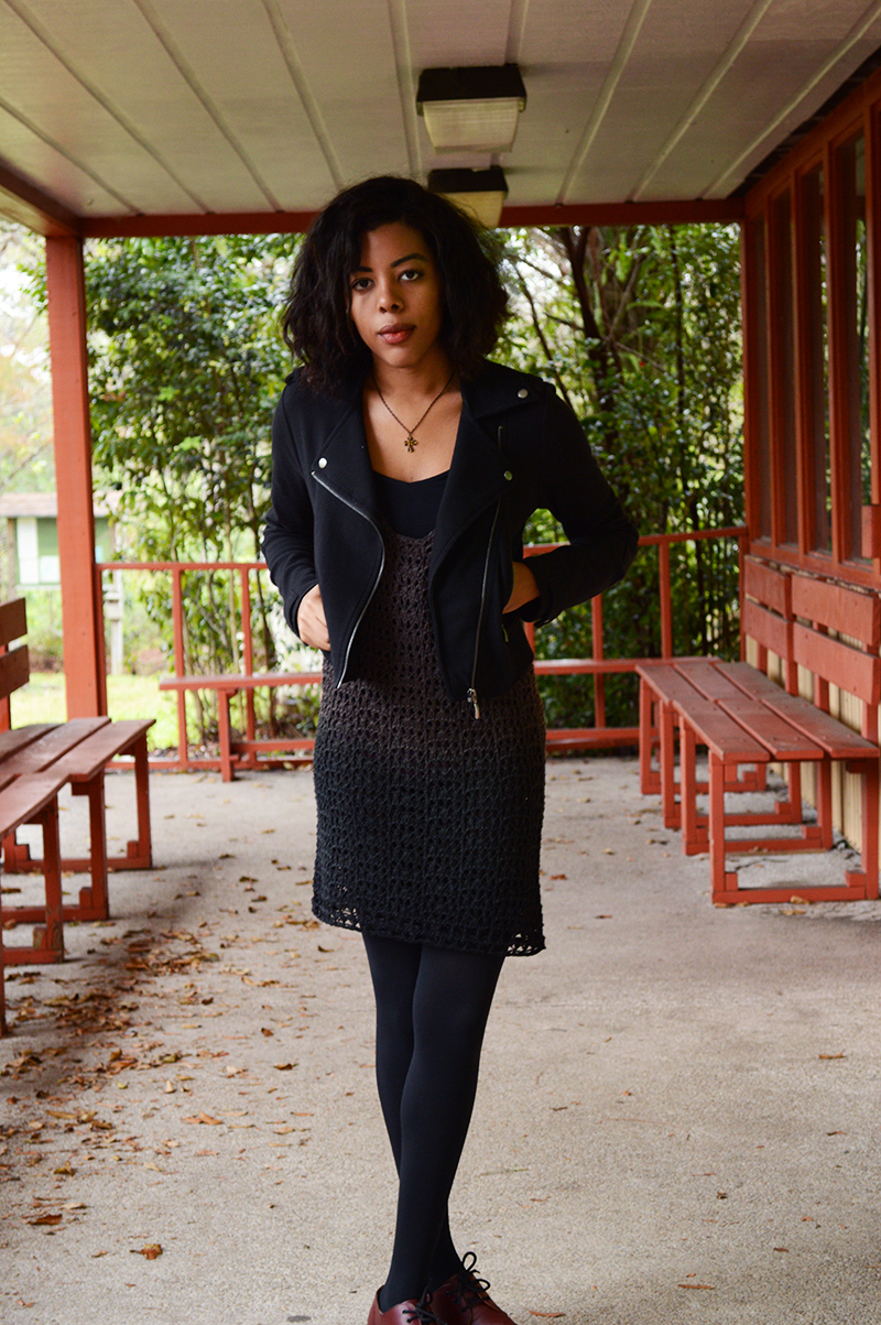 Fashion Blogger Anais Alexandre of Down to Stars at Bill Sadowski Nature Center wearing a motorcycle jacket with an ombre crochet dress and doc martens.