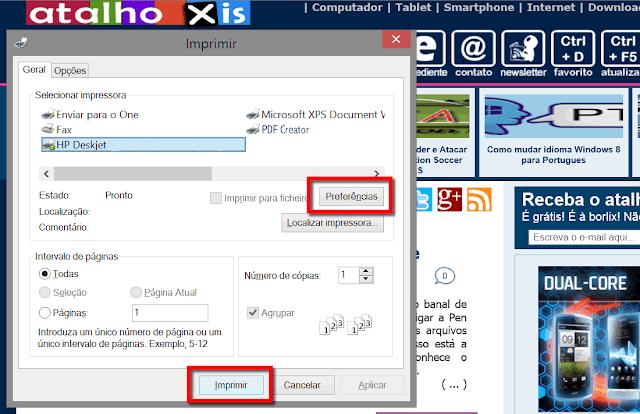 Atalho para mprimir página de Internet completa
