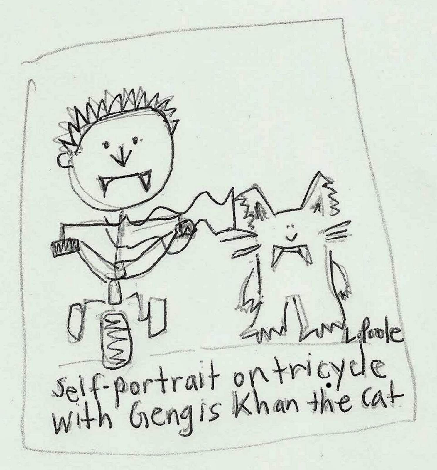 A sketch of a vampire baby riding a tricycle next to a cat.