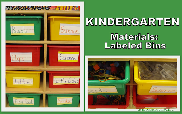 photo of: Classroom Bins for Topic (Organization in the Classroom)