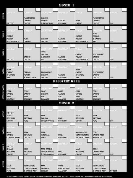 insanity workout calendar. You just follow the calendar