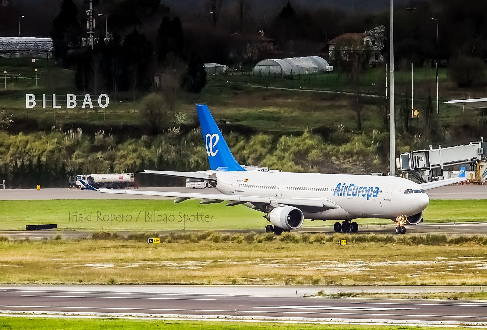 El Airbus A330-200 de Air Europa regresa a Bilbao debido a cancelaciones por el viento