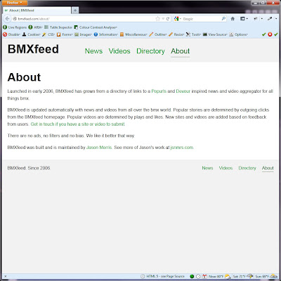 Screen shot of http://bmxfeed.com/about/.