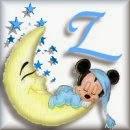 Alfabeto de Mickey Bebé durmiendo en la luna Z.