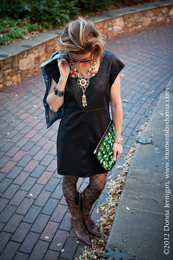 C&C California Dress, Gap Denim Jacket, Charlie 1 Horse Boots, Donna Karan tights, ASOS clutch, Blinde Sunglasses, Charles Emerson Necklace, by boe necklace, JewelMint earrings, Stella & Dot bracelet, Melinda Maria Cocktail ring, Tiffany ring, the Queen City Style, Donna Jernigan, Moments by Donna