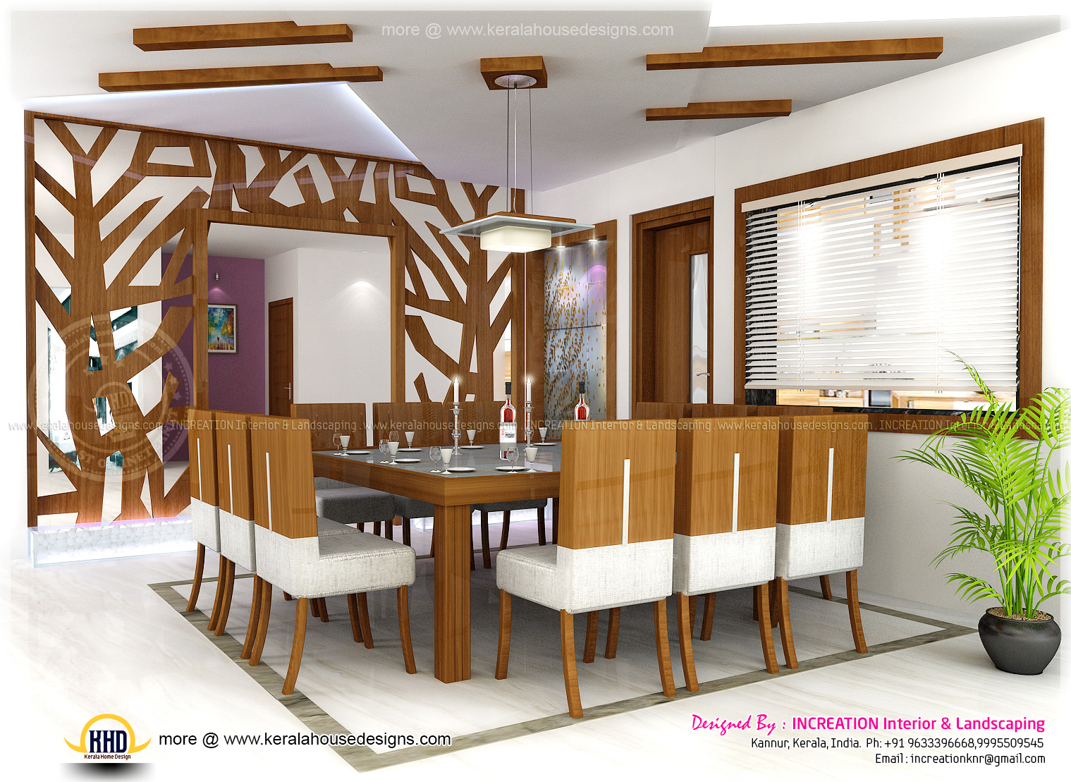 Interior designs from kannur kerala home kerala plans for Home dining hall design