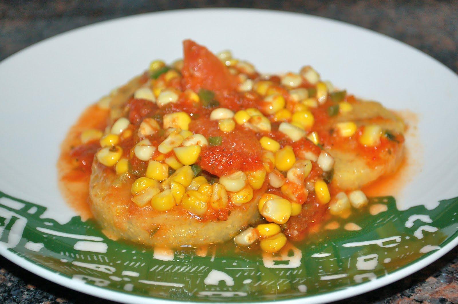 Sofull Sista: Polenta Baked with Corn, Tomato & Basil