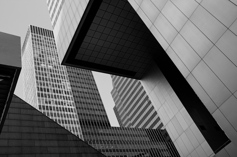 New York cubism glass buildings skyscraper black and white